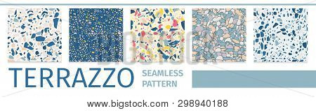 Lettering Flat Set Terrazzo Seamless Pattern Design Vector Abstract Illustration Collection Geometri