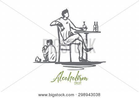 Father, Alcohol, Drunk, Child, Alcoholism Concept. Hand Drawn Drunk Father And Child At Home Concept