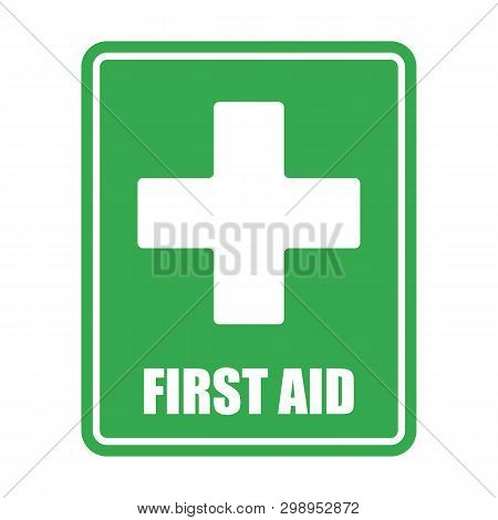 First Aid Help Vector Eps10 On White Background. First Aid Sign. Green Square And White Cross Symbol