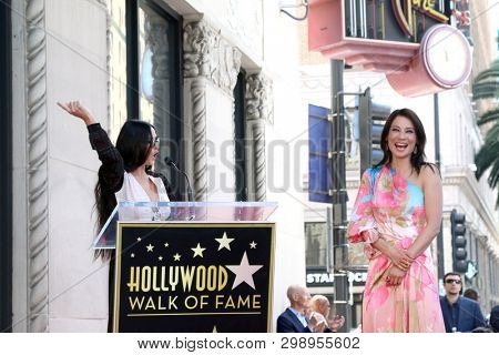 LOS ANGELES - MAY 1:  Demi Moore, Lucy Liu at the Lucy Liu Star Ceremony on the Hollywood Walk of Fame on May 1, 2019 in Los Angeles, CA