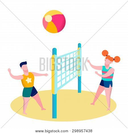 Friends Playing Beach Volleyball Flat Illustration. Cartoon Couple, Siblings, Teens, Boy, Girl Throw