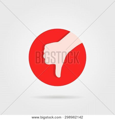 Thumbs Down Like Unsure Round Logo. Concept Of Not Positive Assessment From Client And Reject Or Can