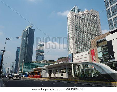 Jakarta, Indonesia - April 17, 2019: Bundaran Hi Integrated Transport Hub Which Connecting Mrt Jakar