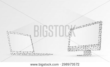 Laptop And Computer Monitors Composed Of Polygons. Electronic Devices With White Screen. Abstract, D