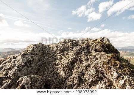 Conglomerate Rock On Kecka Hill Summit In Sulovske Skaly Mountains In Slovakia