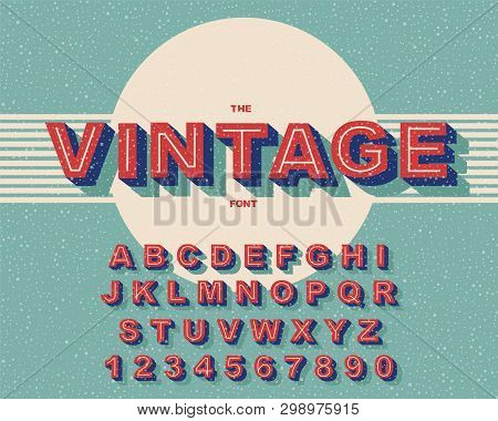 Vector Of Modern Bold Font And Vintage Alphabet Vector 80 S, 90 S