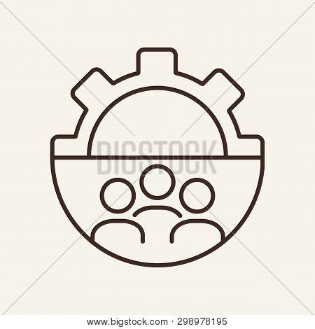 Workgroup Line Icon. Gear, Cogwheel, Person Shape Inside Gear. Human Resource Concept. Vector Illust