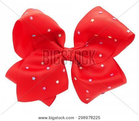 Red hair bow tie with stars fancy accessory