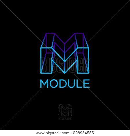 M Monogram, Module, Build Logo. M Box Letter. 3d Monogram. Volume And Construction Logo. Network Ico