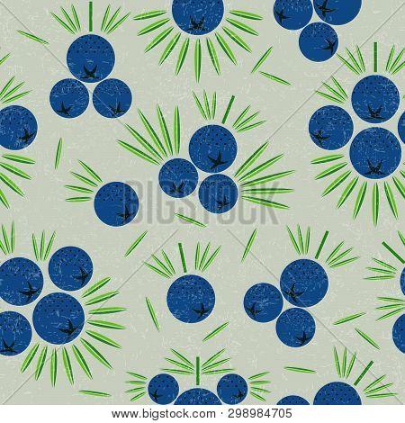 Juniper Berries Seamless Pattern. Juniper Berries With Leaves On Shabby Background. Original Simple