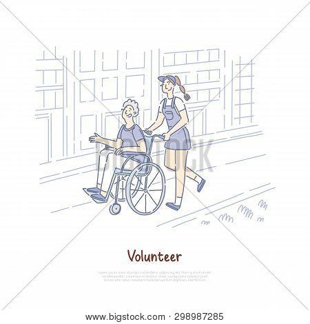 Smiling Female Volunteer Helping Old Man In Wheelchair, Elderly Assistance, Philanthropy, Nursing Se