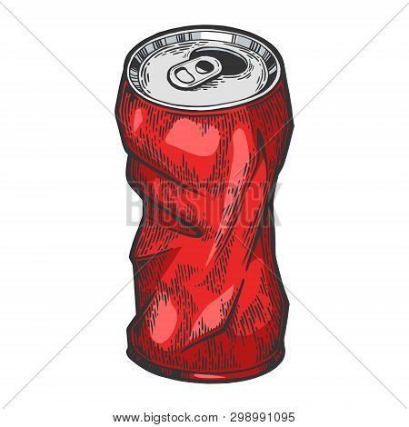 Rumpled Metal Can Color Sketch Engraving Vector Illustration. Scratch Board Style Imitation. Hand Dr