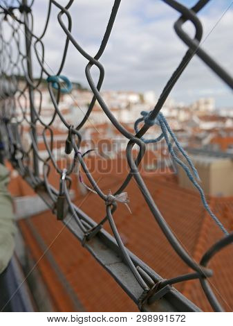 Ancient Lift Santa Justa In Lisbon, Love Knots Are A Symbol Of Love And Commitment
