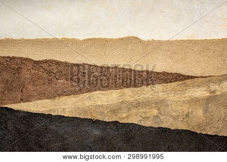 abstract landscape created with sheets of textured handmade bark paper