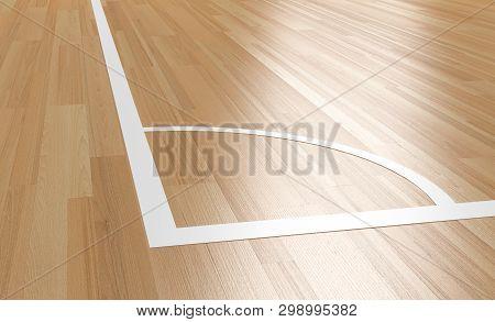 Corner Of Indoor Wood Court .indoor Futsal.3d Rendering