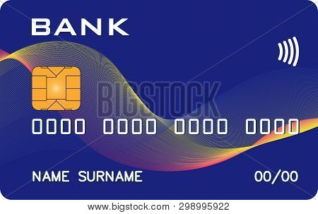Bank Card With Paywave Paypass Prototype With Abstract Wave Background. Abstract Bank, Abstract Paym
