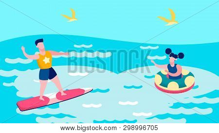 Boy And Girl Swimming In Sea Vector Illustration. Extreme Surfer Floating On Waves Cartoon Character