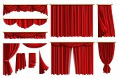 Red curtains. Set realistic luxury curtain cornice decor domestic fabric interior drapery textile lambrequin, vector illustration curtaine set poster