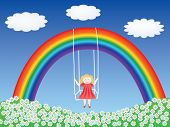 girl in a swing hanging on rainbow vector illustration poster
