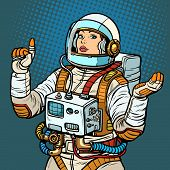 woman astronaut, space exploration. Pop art retro vector illustration vintage kitsch 50s 60s poster