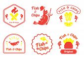 fish and chips retro badge design vector illustration with Cot fish,lemon,plastic fork,fire and french fries poster