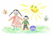 My brother and I children illustration and sun poster