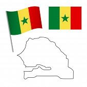 Senegal flag and map. Patriotic background. National flag of Senegal vector illustration poster