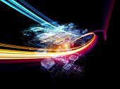 Interplay of colorful motion trail abstract rectangular units colors and light on the subject of cloud computing data storage and modern technologies poster