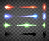 Futuristic energy weapon firing effect vectors, sci-fi or computer game graphics of weapon nozzle flash, projectile and hit, an electric, blaster, laser, singularity or plasma gun shots illustrations poster