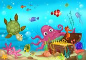 illustration of a cute sea life world poster
