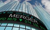 Merger Stock Market Companies Merging Together 3d Illustration poster