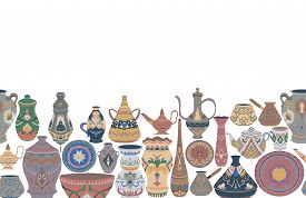 Seamless Border With Traditional Arabic Utensils Collection. Oriental Dishes, Pots, Lantern, Bowl, P