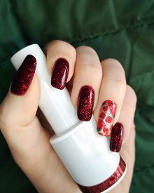 Woman Hand Finger Black And Red Flower Manicure Gel Nail Polish Swatch Design White Bottle Beauty Fa