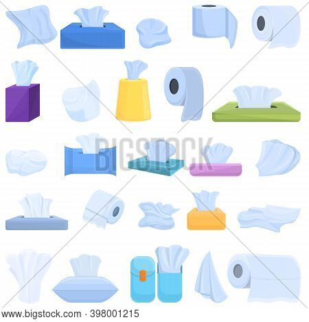 Tissue Icons Set. Cartoon Set Of Tissue Vector Icons For Web Design