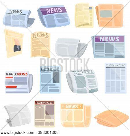 Newspaper Icons Set. Cartoon Set Of Newspaper Vector Icons For Web Design