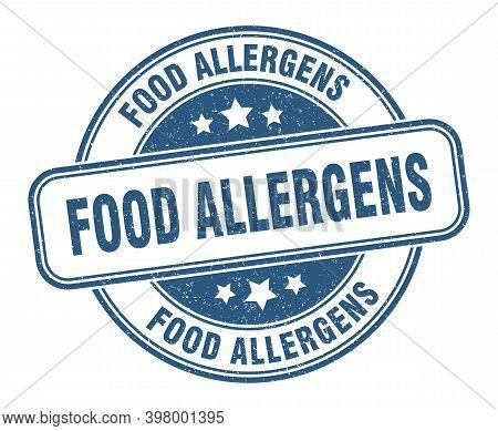 Food Allergens Stamp. Food Allergens Label. Round Grunge Sign