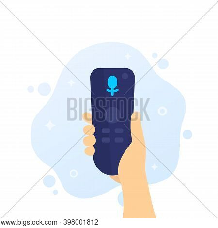 Tv Remote Control With Voice Recognition, Rc In Hand, Vector, Eps 10 File, Easy To Edit