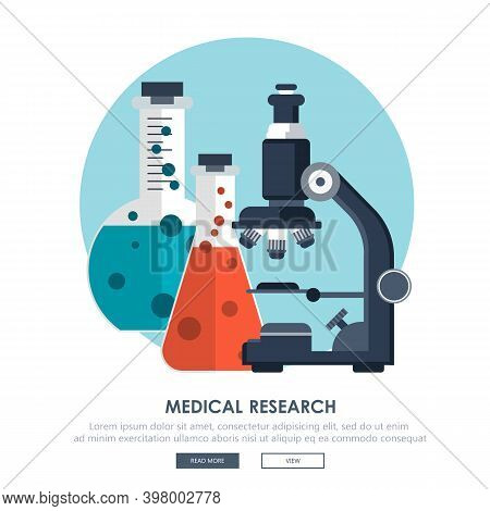 Laboratory And Medicine Research. Laboratory Equipment Banner. Concept For Science, Medicine And Kno