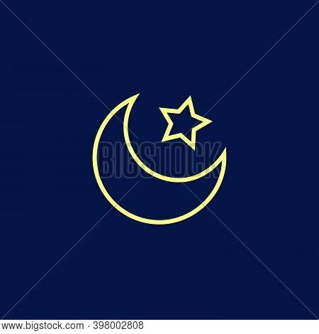 Night Sky Moon And Star On Deep Blue Background Flat Vector Line Yellow Illustration Good Night Rela