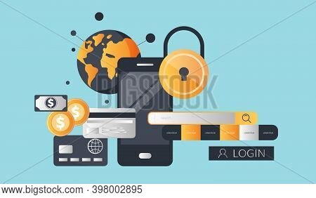 Mobile Payment, Online Shopping, Pay Per Click. Internet Banking, Online Mobile Banking. Flat Vector
