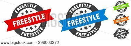 Freestyle Stamp. Freestyle Round Ribbon Sticker. Tag