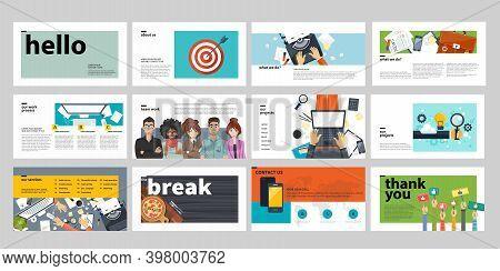 Business Presentation Templates For Websites. Flat Vector Illustration