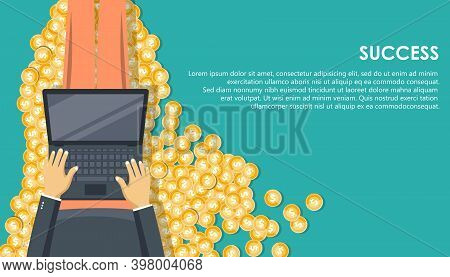 Success Concept. Finances.  Modern Flat Design Concept Of Business Strategy For Website And Mobile W