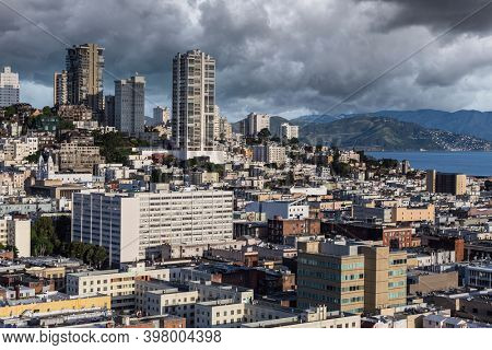 View of Russian Hill with storm clouds from the Financial District in downtown San Francisco.