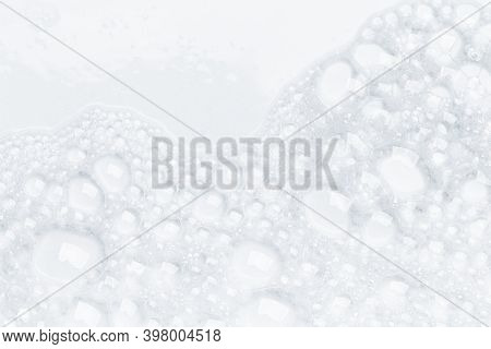 Foam Bubble From Soap Or Shampoo For Washing Isolated On White Background From Above