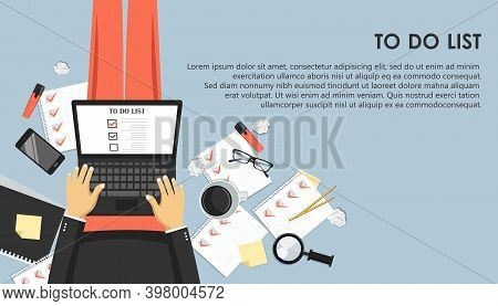 To Do List Concept. Office Work Desk With Equipment And Bunch Of Papers With Red Marks. Flat Vector