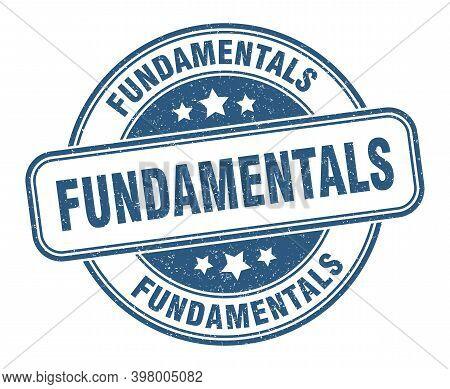 Fundamentals Stamp. Fundamentals Label. Round Grunge Sign