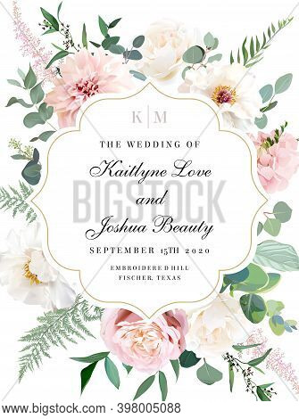 Elegant Wedding Card With Summer Flowers. Ivory White Peony, Dusty Pink Blush Rose, Pale Dahlia, Hyd