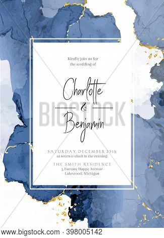 Classic Blue Watercolor Fluid Painting Vector Design Card. Dusty Navy And Golden Geode Frame. Winter