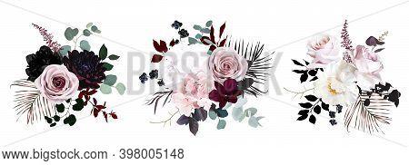 Dusty Pink, Pastel, Black Flowers Vector Design Bouquets. Hydrangea, Rose, Dahlia, Orchid, Black Ber